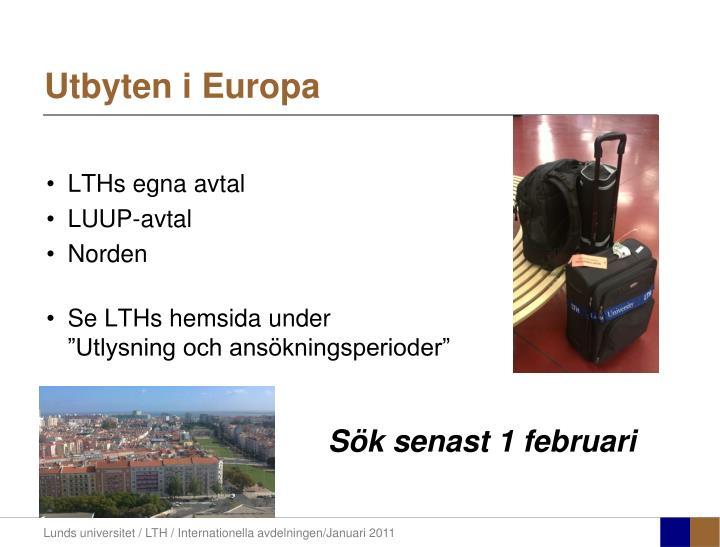 Utbyten i Europa