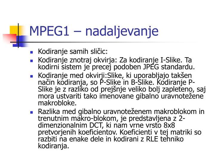 MPEG1 – nadaljevanje