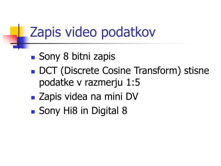 Zapis video podatkov