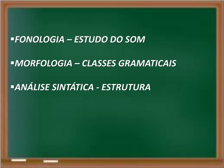 FONOLOGIA – ESTUDO DO SOM