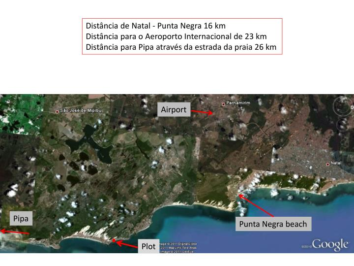 Distância de Natal - Punta Negra 16 km