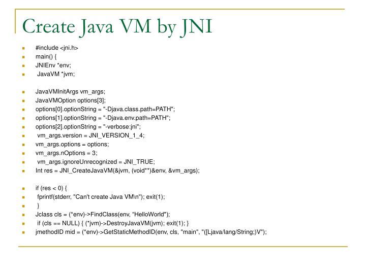 Create Java VM by JNI