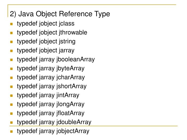 2) Java Object Reference Type