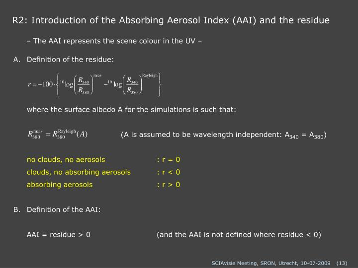 R2: Introduction of the Absorbing Aerosol Index (AAI) and the residue