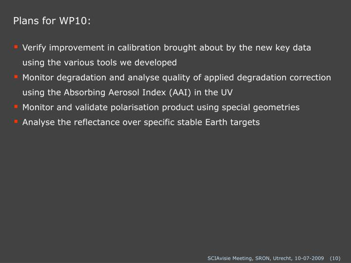 Plans for WP10: