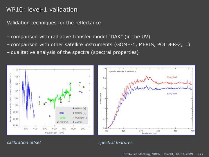 WP10: level-1 validation
