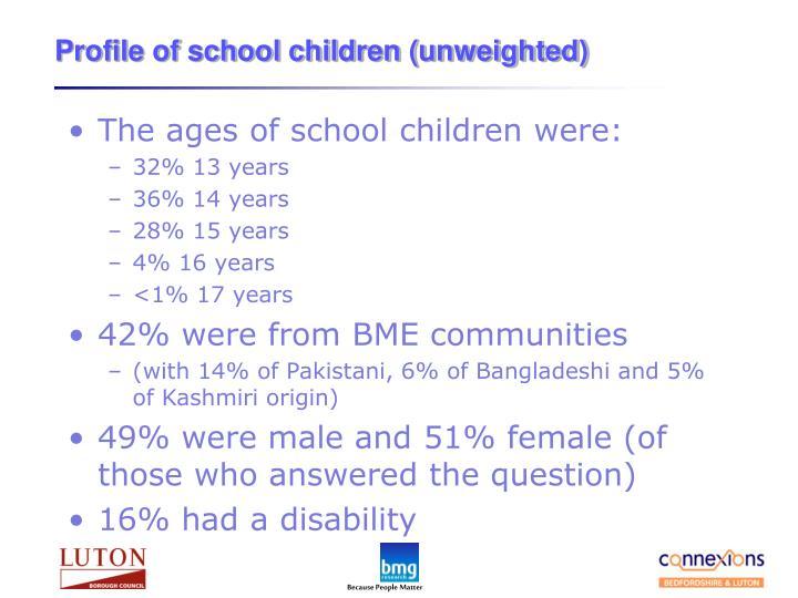 Profile of school children (unweighted)