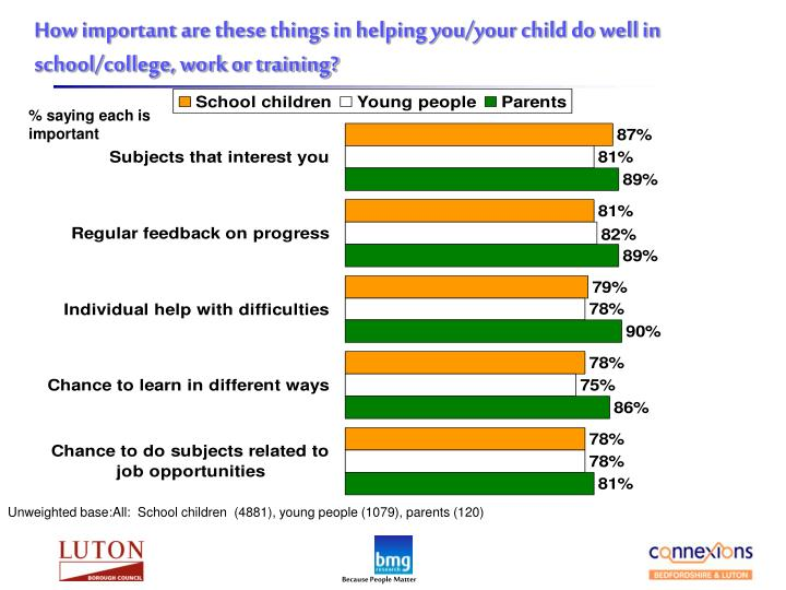 How important are these things in helping you/your child do well in school/college, work or training?