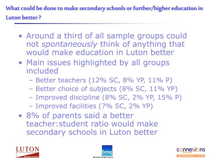 What could be done to make secondary schools or further/higher education in Luton better ?