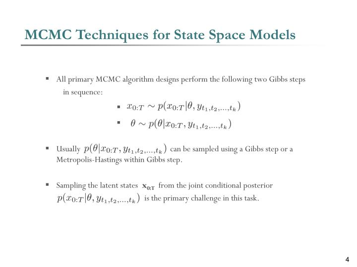 MCMC Techniques for State Space Models
