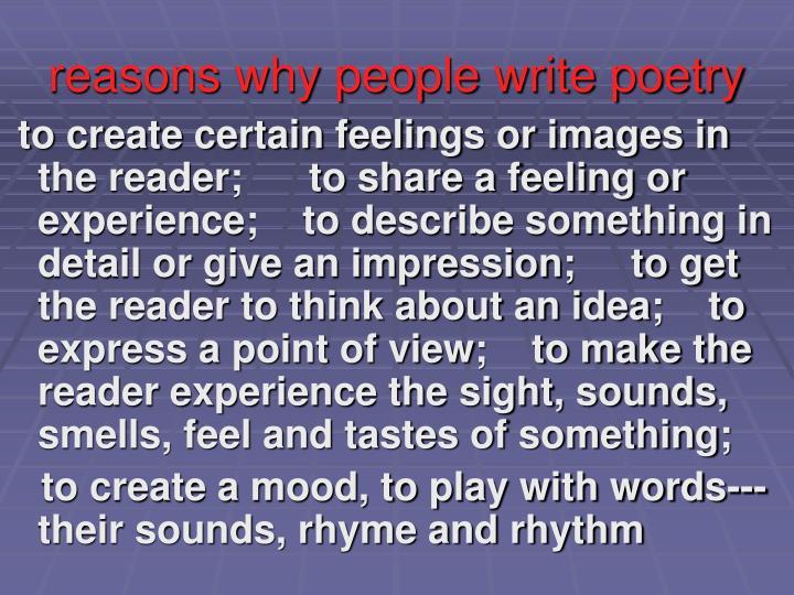 reasons why people write poetry