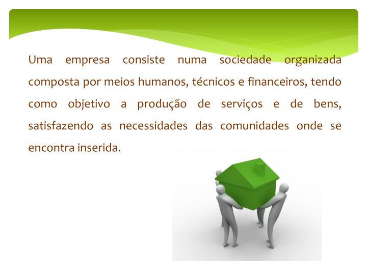 Uma empresa consiste numa sociedade organizada composta por meios humanos, técnicos e financeiros, ...