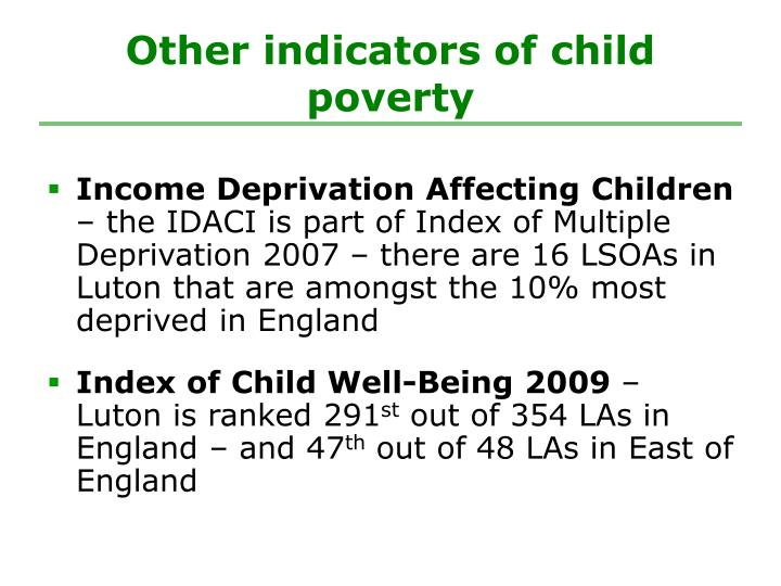 Other indicators of child poverty