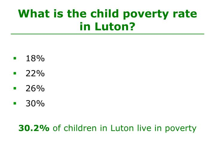 What is the child poverty rate in Luton?