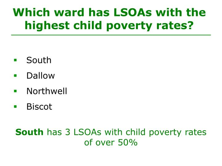 Which ward has LSOAs with the highest child poverty rates?