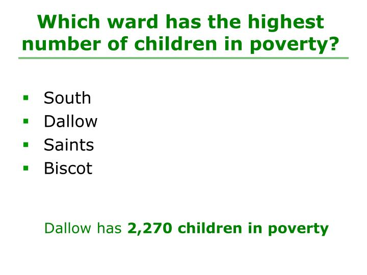 Which ward has the highest number of children in poverty?
