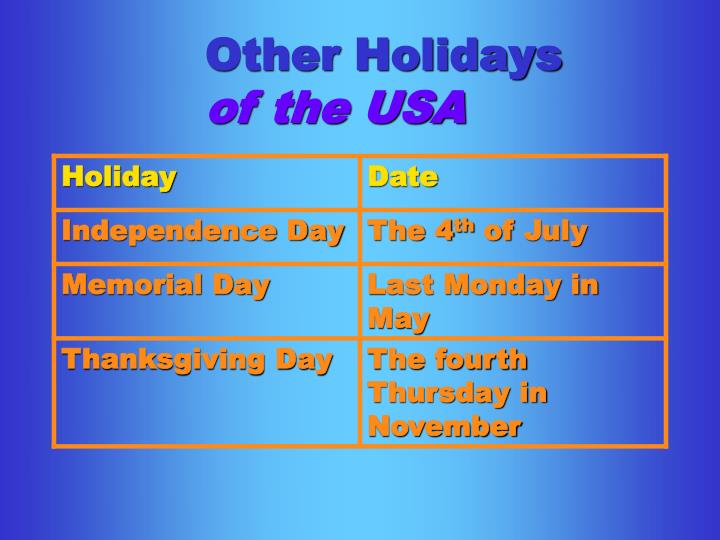 Other Holidays