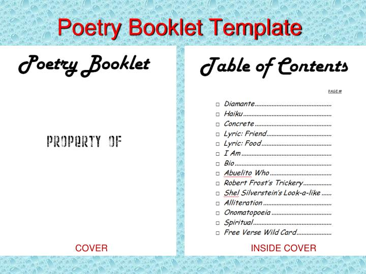 Poetry Booklet Template