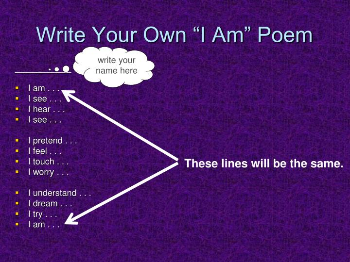 "Write Your Own ""I Am"" Poem"