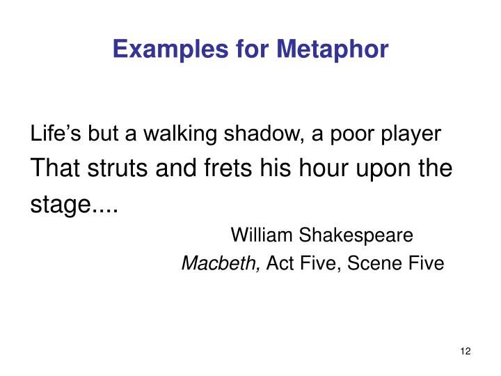 Examples for Metaphor