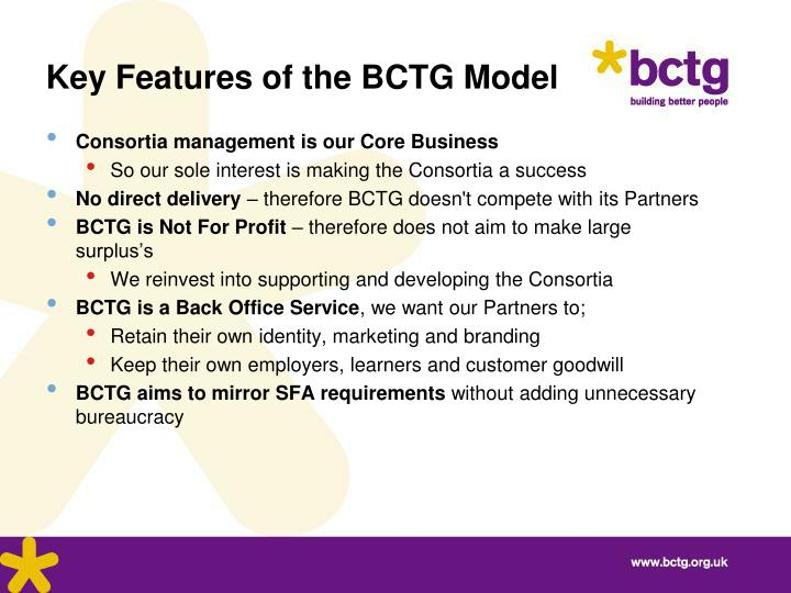Key Features of the BCTG Model