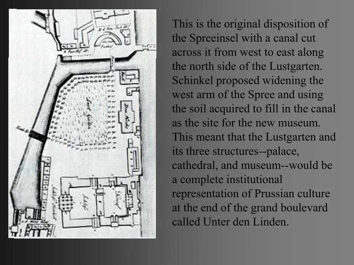 This is the original disposition of the Spreeinsel with a canal cut across it from west to east along the north side of the Lustgarten.
