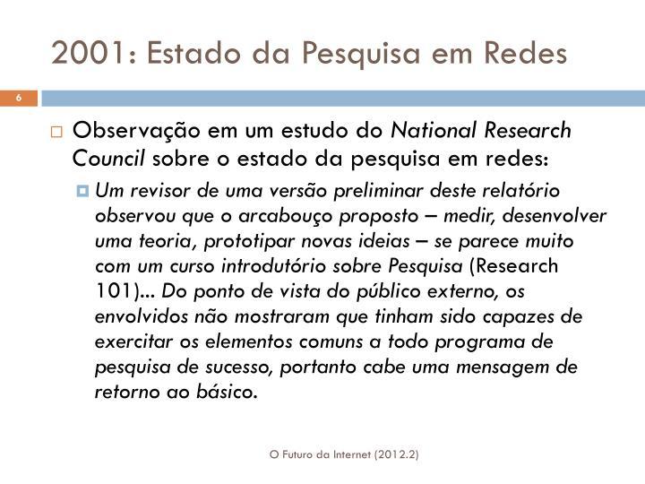 2001: Estado da Pesquisa em Redes