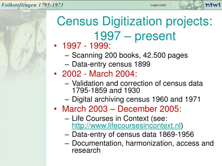 Census Digitization projects: 1997 – present