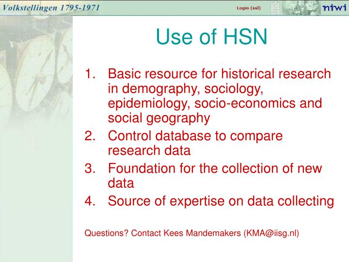 Use of HSN