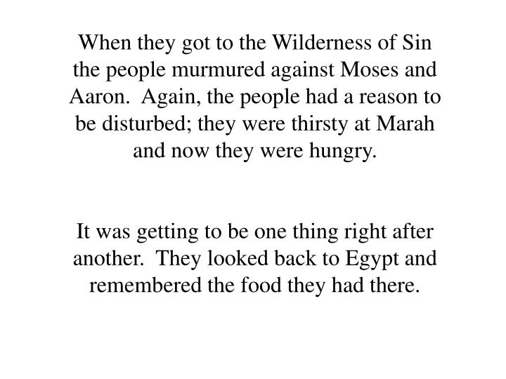When they got to the Wilderness of Sin the people murmured against Moses and Aaron.  Again, the people had a reason to be disturbed; they were thirsty at Marah and now they were hungry.
