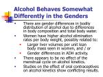 alcohol behaves somewhat differently in the genders1
