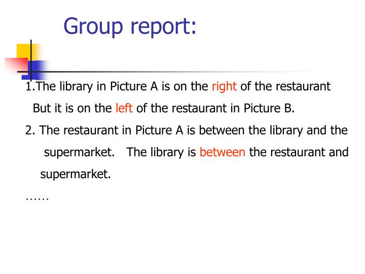 Group report: