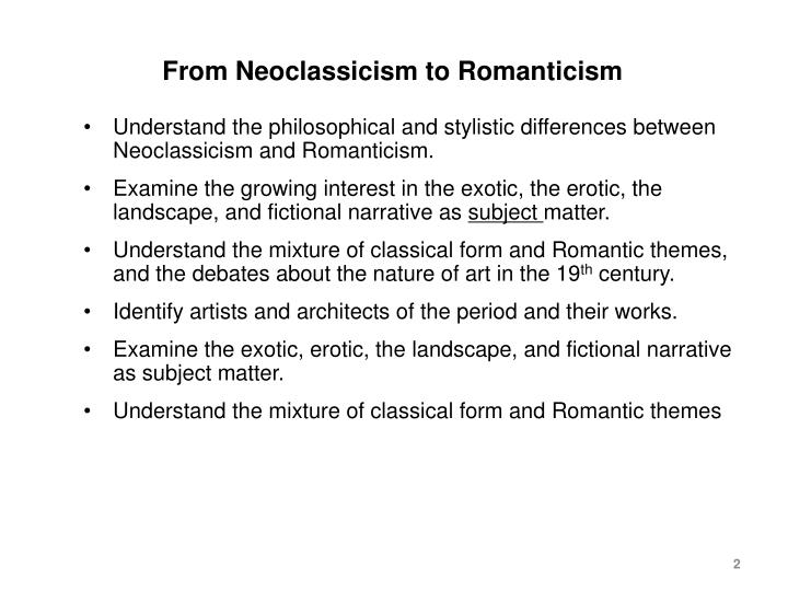 From neoclassicism to romanticism
