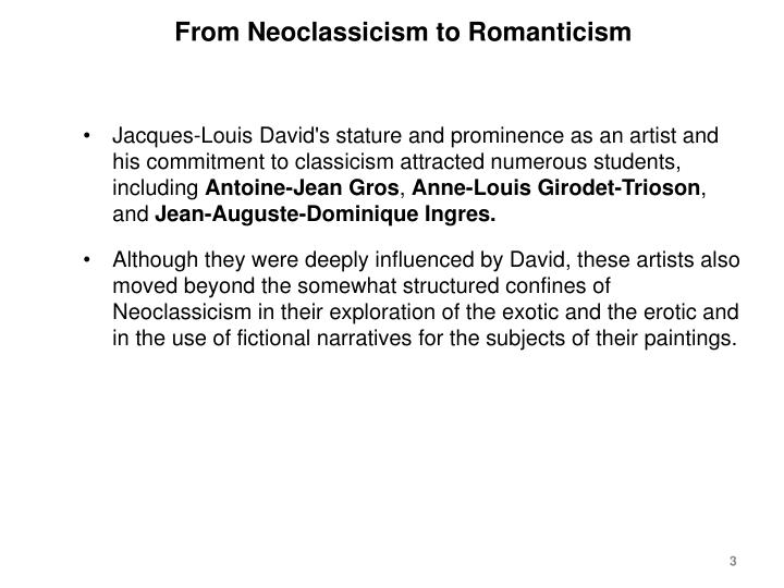 From neoclassicism to romanticism1