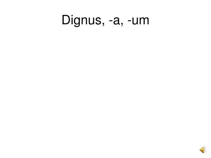 Dignus, -a, -um