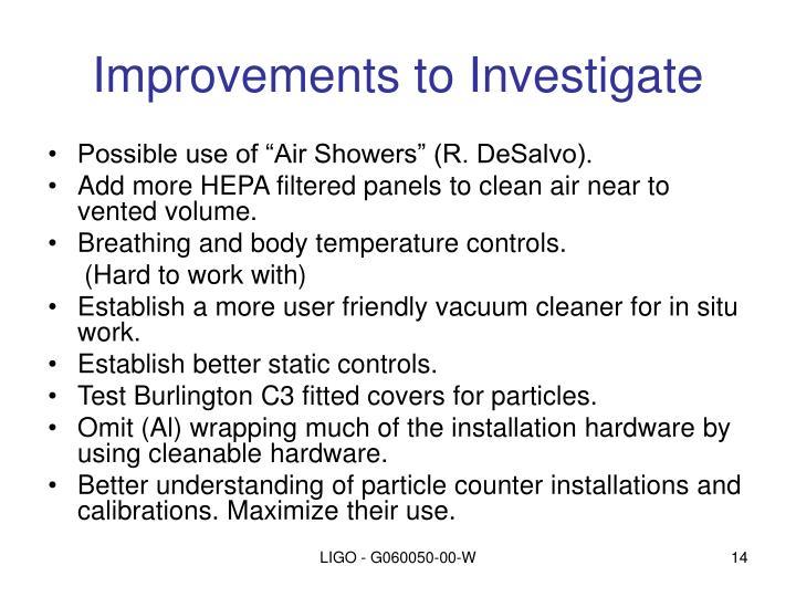 Improvements to Investigate