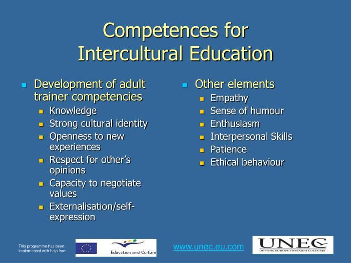 Development of adult trainer competencies