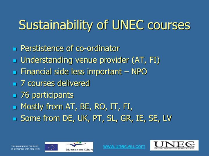 Sustainability of UNEC courses