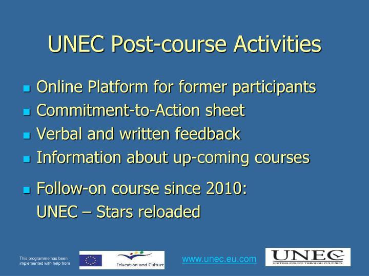 UNEC Post-course Activities