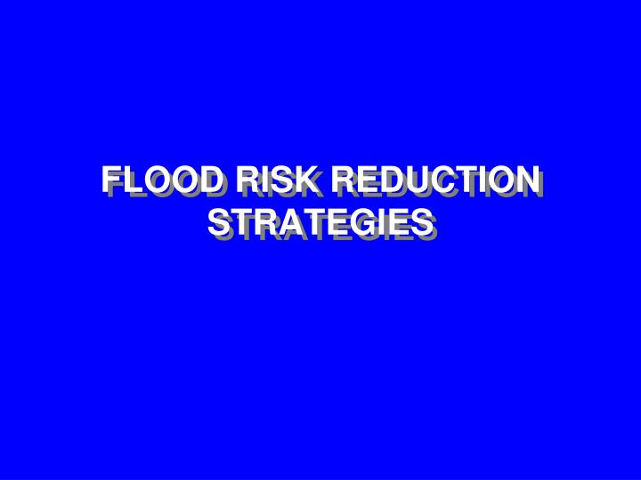 FLOOD RISK REDUCTION STRATEGIES