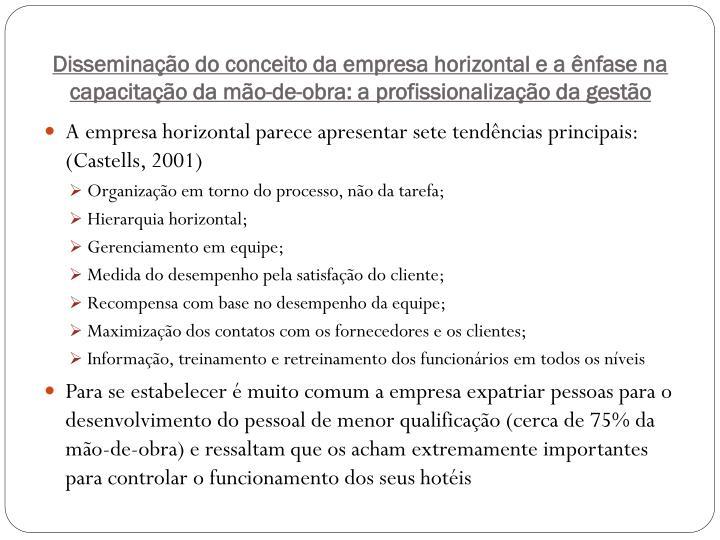 Disseminação do conceito da empresa horizontal e a ênfase na capacitação da mão-de-obra: a profissionalização da gestão