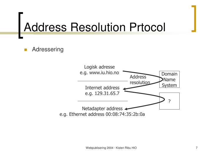 Address Resolution Prtocol