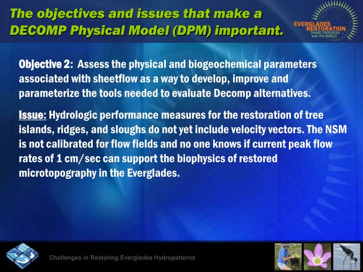 The objectives and issues that make a DECOMP Physical Model (DPM) important.