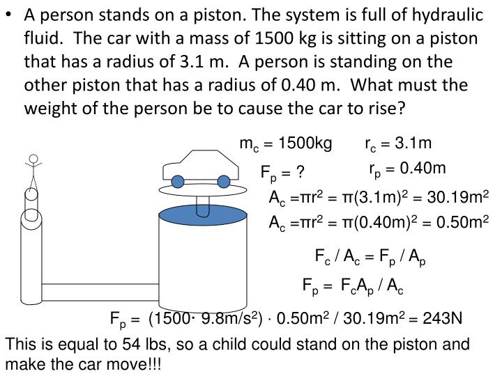 A person stands on a piston. The system is full of hydraulic fluid.  The car with a mass of 1500 kg is sitting on a piston that has a radius of 3.1 m.  A person is standing on the other piston that has a radius of 0.40 m.  What must the weight of the person be to cause the car to rise?