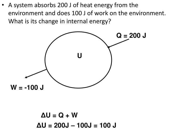A system absorbs 200 J of heat energy from the environment and does 100 J of work on the environment. What is its change in internal energy?