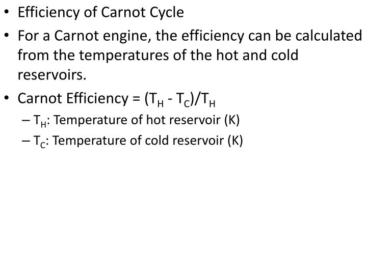 Efficiency of Carnot Cycle