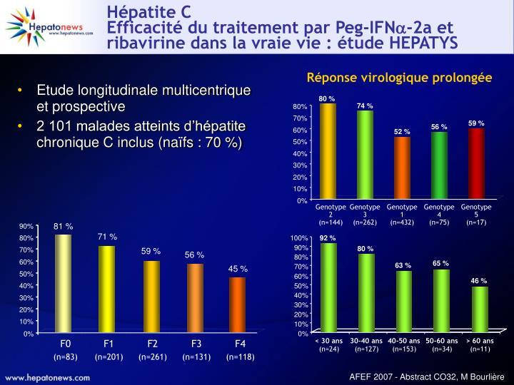 H patite c efficacit du traitement par peg ifn 2a et ribavirine dans la vraie vie tude hepatys