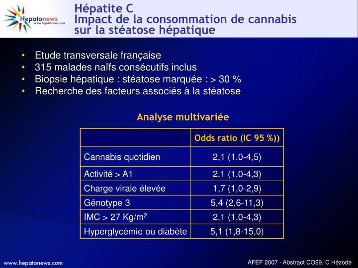 H patite c impact de la consommation de cannabis sur la st atose h patique
