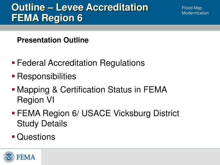 Outline levee accreditation fema region 6