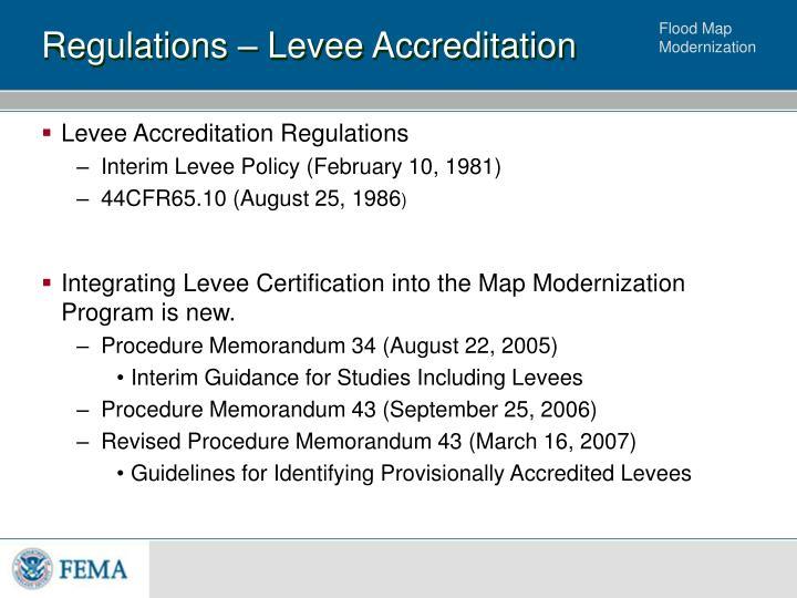 Regulations levee accreditation